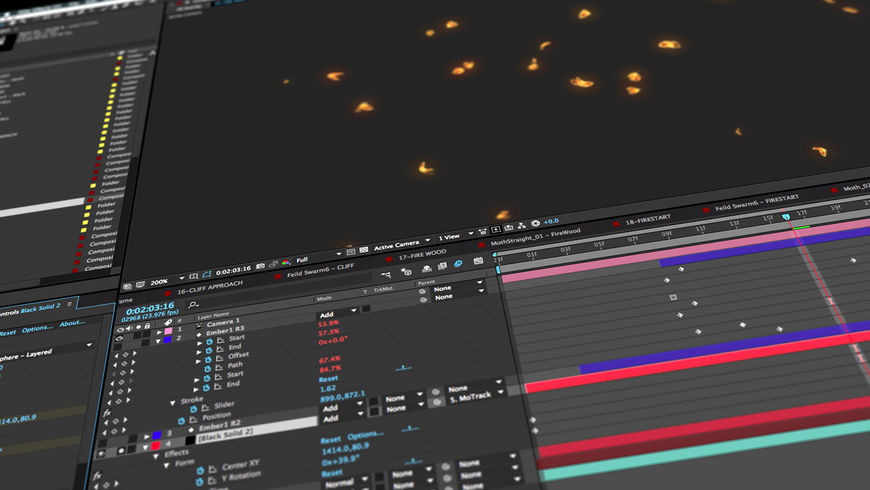 IMAGE: Screenshot –flutter of glowing moths being animated