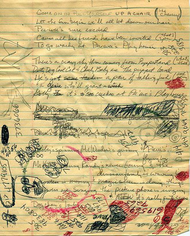 IMAGE: Pee-wee's Playhouse Original Song Lyrics