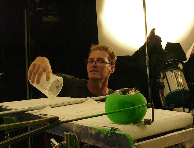 IMAGE: Photo - DP Chris Warren loading fake snow for motion control pass