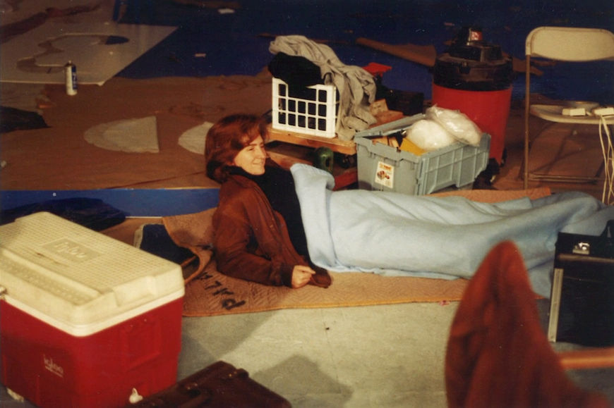 IMAGE: Prudence Fenton takes a break during production of the Pee-wee's Playhouse opening sequence