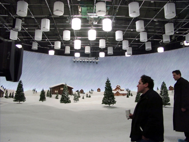 IMAGE: Jon Favreau on North Pole set in Vancouver