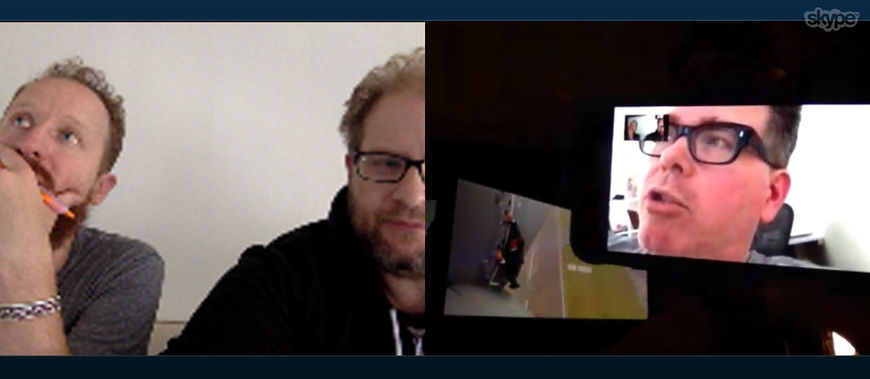 IMAGE: Skype call – Aaron and Seth talk to Christopher McQuarrie