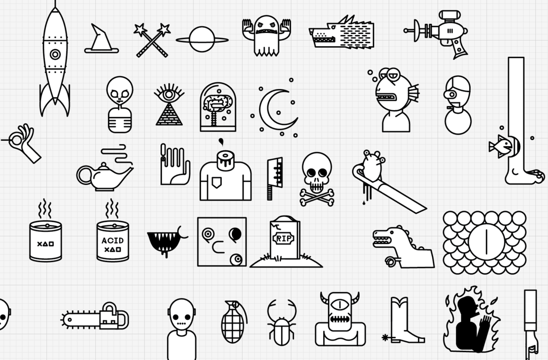 IMAGE: Icon concepts drawn in Adobe Illustrator