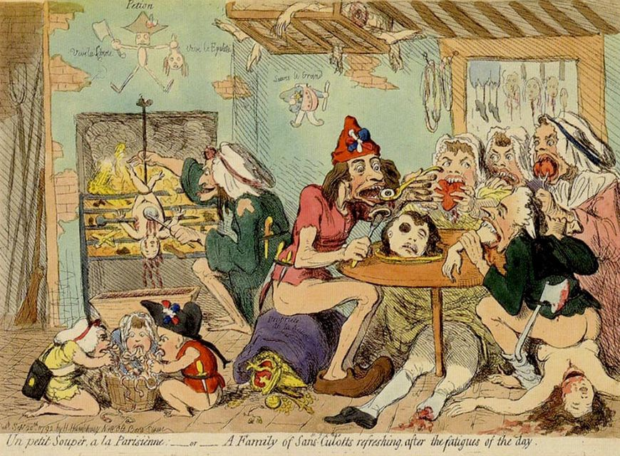 IMAGE: Reference – A Family of Sans-Culottes refreshing after the Fatigues of the Day (1792) by James Gillray
