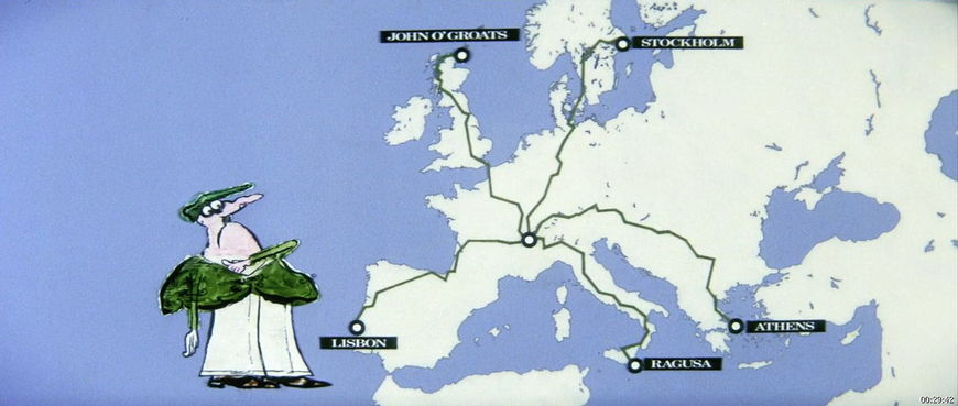 IMAGE: Map from the film featuring a Ronald Searle drawing
