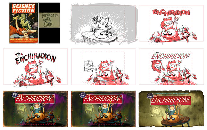 """The Enchiridion!"" title card progression"