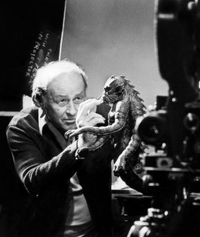 IMAGE: Ray Harryhausen works on Kraken miniature