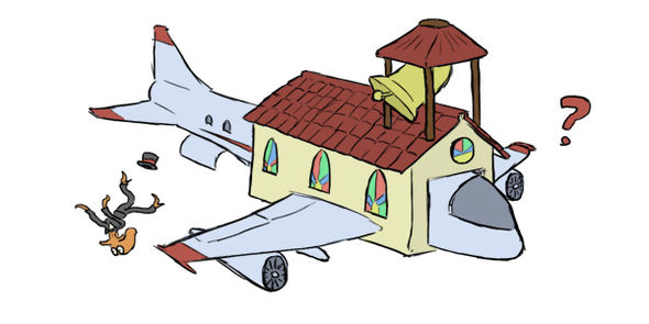 IMAGE: Octodad sketch of the church plane