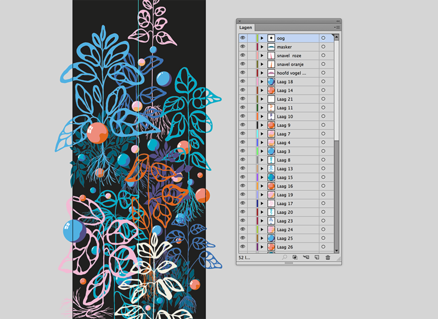 IMAGE: Illustrator screenshot – leaves and bubbles