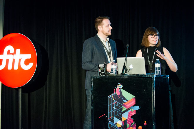 IMAGE: Lola and Will presenting at FITC