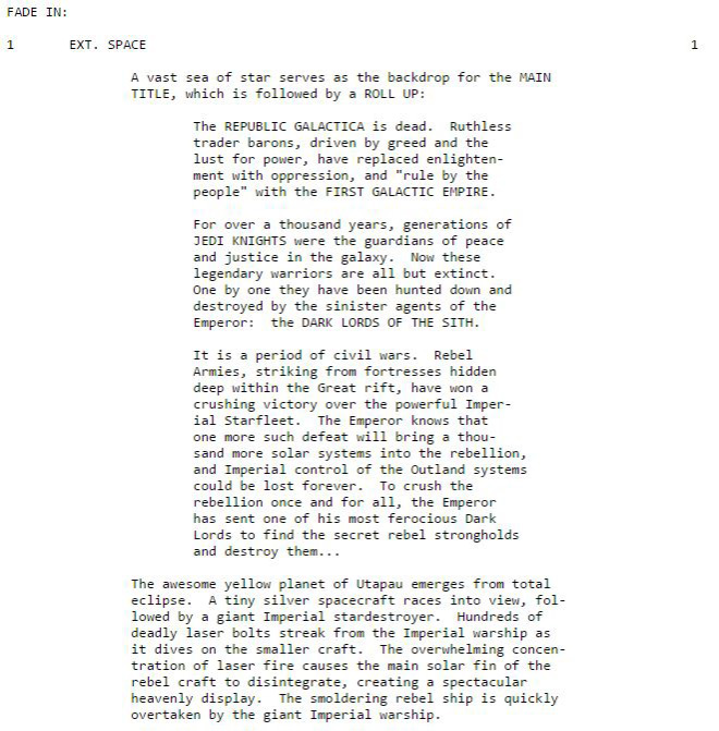 IMAGE: Early Star Wars Screenplay Excerpt